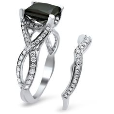 Noori 18k White Gold 2 3/4ct TDW Black Princess-cut Diamond Bridal Set... ($2,520) ❤ liked on Polyvore featuring jewelry, rings, white, diamond rings, solitaire engagement rings, 14k white gold ring, pave diamond ring and white gold engagement rings