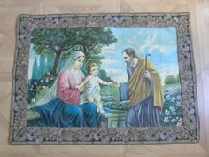 BIG Antique religious oil painting w Holy Family linen canvas, signed French 1900s, virgin Mary, child Jesus, Joseph, religious antiques art