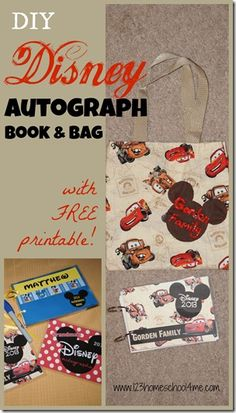 How to make a DISNEY Autograph Book AND Bag - super easy to make, but priceless to your kid to use on your family vacation to Disney World! #Disney