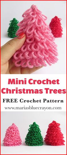 57 New ideas for mini christmas tree crafts free pattern Crochet Christmas Decorations, Christmas Tree Pattern, Crochet Christmas Ornaments, Christmas Tree Crafts, Christmas Crochet Patterns, Holiday Crochet, Mini Christmas Tree, Crochet Patterns Amigurumi, Crochet Gifts