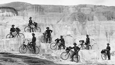 The 25th Infantry Bicycle Corps at Minerva Terrace in Yellowstone National Park. In 1896 a group of Buffalo Soldiers stationed at Ft. Missoula, Montana bicycled 800 miles to & from Yellowstone Nat'l Park.