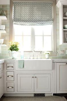 farmhouse sink, bridge faucet, backsplash, window, roman shade, floating shelves