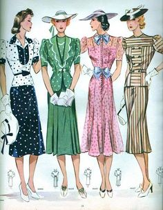 Stylish spring/summer fashions from Neue Moden July 1938. #vintage #1930s #fashion