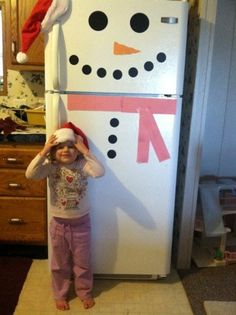 Easy Christmas Craft: Snowman Fridge..I am SO doing this when I have my own fridge!!!!!