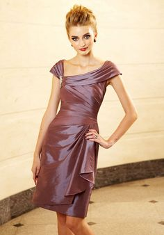 mother of the bride-- like the off-center neckline. would make some fitted elbow-length lace sleeves