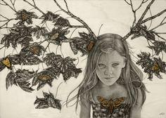 """Sophia"" graphite, watercolor, ink on wood - Alessia Iannetti"