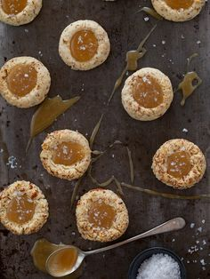 Salted Caramel Almond Thumbprint Cookies | Spoon Fork Bacon