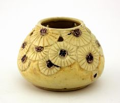 Marguerite Mahood pottery squat shaped vase with pierced floral daisy decorations, a yellow body, a signed base, 'Mm, to S.T.' and dated '12/11/32, B268'