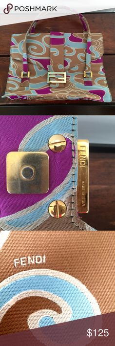 Vintage Fendi Swirl Design Satchel Well-loved FENDI Turquoise, Magenta & Caramel Swirl handbag. Satchel style.  Nylon w/enamel detail.   This belonged to my mother and she gave it to me,  but I haven't used it.  I'm assuming someone out there would appreciate it more.  I don't know the original cost and my mother does not remember.  It does have damage -- please see photos.  This is for the must-have FENDI collector or someone who loves this design & doesn't mind damage that doesn't show…