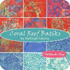 Coral Reef Batiks Fat Quarter Bundle Hoffman Fabrics