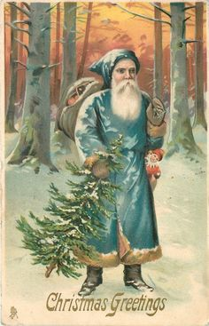 CHRISTMAS GREETINGS  blue robed Santa with toys & tree, woods behind