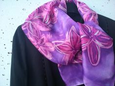 Pink and Purple Wax Batik Silk Scarf for Ladies. by SilkLetters, $52.00