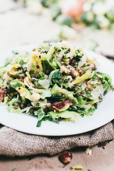 Shaved Brussels Sprouts, Lentils, Bacon, and Pear
