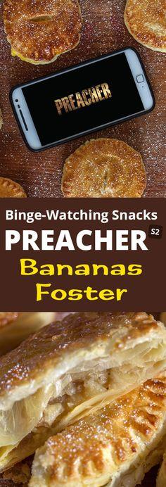 Bananas Foster Blätterteigtaschen. Meine kleine Abwandlung eines klassikers aus New Orleans. Der perfekte Binge-Watching Snack zu Preacher Staffel 2. Rezept findet Ihr auf meinem Blog.