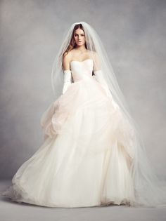 Dreamy wedding style in this ombre tulle ball gown wedding dress by WHITE by Vera Wang available at David's Bridal   Those gloves