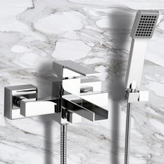 Single Lever External Bath Shower Mixer with Waterfall Spout and Hand Shower Shower Bracket, Shower Diverter, Bath Shower Mixer, Tub Faucet, Brass Color, Chrome Finish, Wall Mount, Waterfall, Italy