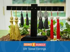 DIY Tassel Earrings -  Fringe is everywhere this season, so we're incorporating it into everything! These easy tassel earrings are the perfect statement piece for a spring outfit! DIY by @orlyshani on Home and Family. Tune in weekdays at 10/9c on Hallmark Channel!