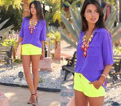 Purple button down shirt, neon yellow shorts, orange + black + nude heels, yellow/orange/red accessories, nude clutch