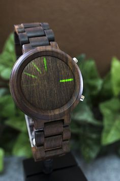 LED Watch with Bluetooth Notifications | Kisai Blade Wood Link from Tokyoflash Japan