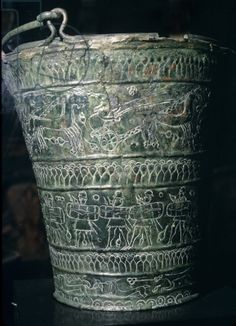 Situla with inscribed decoration showing warriors; Etruscan Situla / Muse Civico,  Bologna, Italy