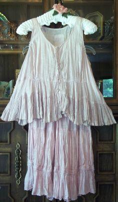 Magnolia Pearl Linen Gauze vint Short Tunic Flounce Snap Front Pale Mauvey Pink | eBay