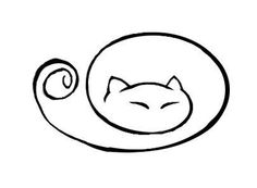 curled up kitty cat tat Cat Crafts, Line Drawing, Simple Cat Drawing, Simple Cat Tattoo, Kitty Drawing, Drawing Ideas, Doodle Art, Cat Doodle, Crazy Cats