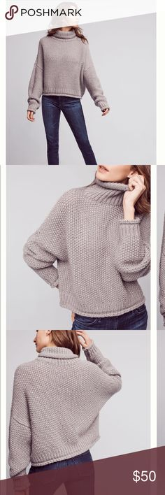 Anthropologie grey Abella Turtleneck crop sweater A super cute cropped grey knitted sweater with balloon sleeves, pullover styling and super soft fabric. This item is in perfect condition and never been worn Anthropologie Sweaters Cowl & Turtlenecks