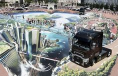 The artist created the amazing 3D street art for an event showcasing the new range of Renault Trucks in Lyon. Description from usaukonline.com. I searched for this on bing.com/images