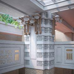 Larkin Administration Building | David Romero recreates Frank Lloyd Wright buildings in colour visualisations
