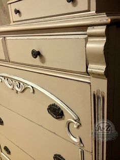 Antique Chest Painted with Webster's Chalk Paint Powder, Benjamin Moore Paint and Royal Stencil Creme