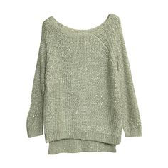 Paillette Batwing Sleeves Grey Jumper ($64) ❤ liked on Polyvore