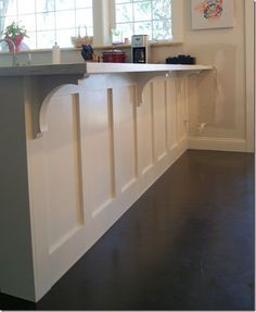 Corbels from home depot. Could do this to the kitchen bar but in navy dark or maroon or golden yellow Kitchen Cabinets Uk, Kitchen Redo, Kitchen Ideas, 10x10 Kitchen, Kitchen Island Corbels, Kitchen Island Panels, Kitchen Island Finishes, Kitchen Island Shapes, Kitchen Bar Counter