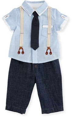 9dbf3e95f Boys Miniclasix Short-Sleeve Oxford Shirt w/ Chambray Pants, Blue, Size 12