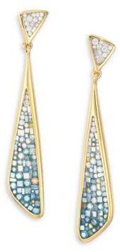 Pleve Marine Ombre Diamond & 18K Yellow Gold Long Kite Drop Earrings