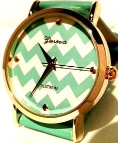 Geneva Platinum GE9746 Women's Cheveron Leather Watch Mint Green | eBay