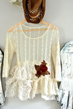 Boho shirt gypsy cowgirl glam lace top by TrueRebelClothing, $68.00
