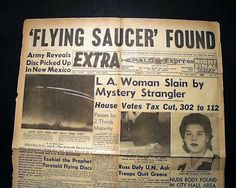Original Roswell Newspaper Article | Roswell Ranch Flying Saucers UFO Discovery Headline 1947 Old Newspaper ...