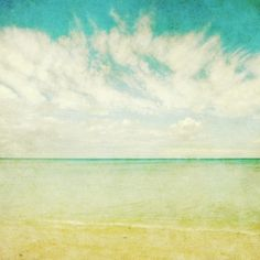 """Fine Art Photograph of a soft watercolor like peaceful ocean view in Hawaii .    TITLE ~ Watercolor sky   SIZE ~ 8""""x8"""" $30  Honeytree on Etsy"""