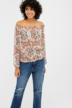 Blusa escote barca | Camisas | Springfield Off Shoulder Blouse, Womens Fashion, Collection, Tops, Trends, Fitness, Dresses, Long Sleeve Tops, Sleeveless Tops