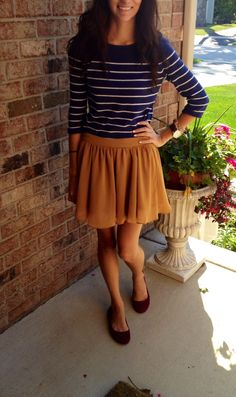Navy and white striped shirt, mustard skirt, maroon flats, early fall outfit