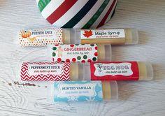 FREE SHIPPING Set of 6 Shea Butter Holiday Lip Balms //