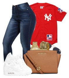 """I know I'm outchea. One shot & Im there."" by bria-queen-ovoxo ❤ liked on Polyvore featuring Supreme, NLY Accessories, Michael Kors, Bulova, MICHAEL Michael Kors and NIKE"