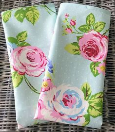 Floral cotton tea towel in turquoise fabric with white polka dots, roses and lavender
