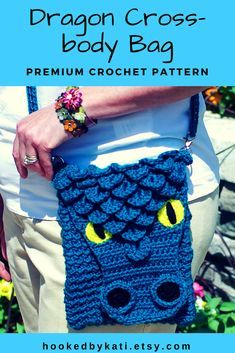 Dragon Crossbody Bag Crochet Pattern, Dragon Purse, Chain strap crochet bag pattern, premium pattern, printable .pdf, download | Hooked by Kati