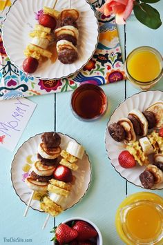 Breakfast Kabobs ~ This is a great breakfast recipe for a brunch party or Mother's Day breakfast. All you will need for this is Waffles, Pancakes, Sausage, and Fruit. Although, you can use any breakfast items you like and pile them high.