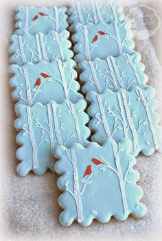 "I had so much fun making these quick and simple cookies using a new stencil from Evil Cake Genius! The ""Winter Birch"" stencil is available here: Evil Cake Genius Happy Holidays! Bird Cookies, Fancy Cookies, Cute Cookies, Royal Icing Cookies, Cupcake Cookies, Christmas Sugar Cookies, Christmas Sweets, Noel Christmas, Holiday Cookies"