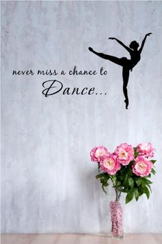 2 Never Miss A Chance To Dance Ballerina Dancer Inches Symbol Matte Black Vinyl Silhouette Keypad Track Pad Decal Window Wall Quotes Sayings Art
