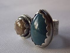 Teardrop Leland Blue and Round Petosky Stone Sterling Silver Ring by BenitaDjewelrydesign on Etsy