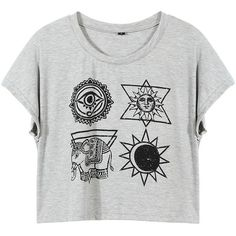 Yoins Cropped T-Shirt ($14) ❤ liked on Polyvore featuring tops, t-shirts, crop tops, grey, shirts & tops, gray shirt, gray t shirt, gray crop top and grey shirt