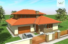 Emeletes családi ház 170 m2 House Design Pictures, Modern House Design, Clarendon Homes, African House, Glass Brick, Architect House, Exterior House Colors, House Floor Plans, Architecture Design